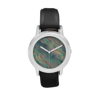 Blue Iris Wavy Texture Wrist Watch