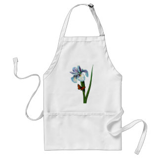 Blue Iris with Butterfly by Redoute Adult Apron