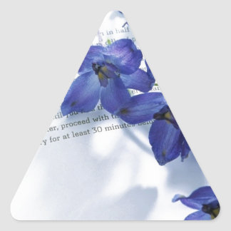 Blue Iris's laided upon a book Triangle Sticker