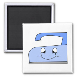 Blue Iron Cartoon. On White. 2 Inch Square Magnet