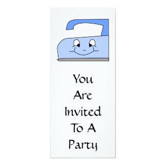 Blue Iron Cartoon. On White. 4x9.25 Paper Invitation Card