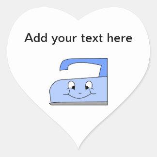 Blue Iron Cartoon. On White. Heart Sticker