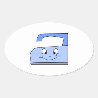 Blue Iron Cartoon. On White. Oval Sticker