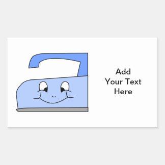 Blue Iron Cartoon. On White. Rectangular Sticker