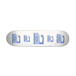 Blue Iron Cartoon On White Custom Skateboard