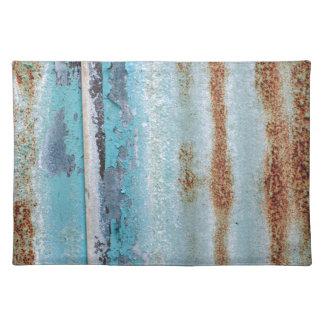 Blue iron texture wall place mats