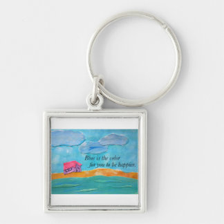 Blue is the color for you to be happier. keychain