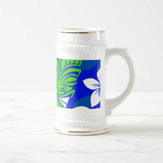 Blue Island Floral Tiki Masks Beer Stein