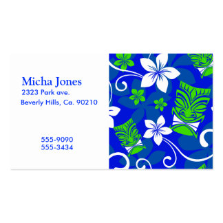 Blue Island Floral Tiki Masks Business Card Templates
