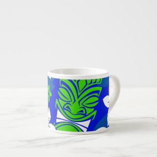 Blue Island Floral Tiki Masks Espresso Cup