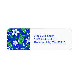 Blue Island Floral Tiki Masks Label