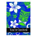 Blue Island Floral Tiki Masks Personalized Invite