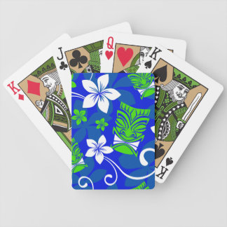 Blue Island Floral Tiki Masks Playing Cards