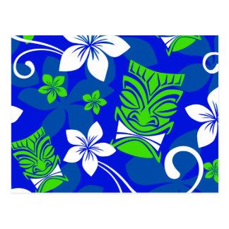 Blue Island Floral Tiki Masks Postcard