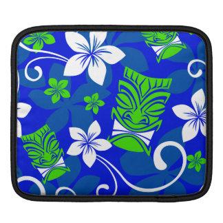 Blue Island Floral Tiki Masks Sleeve For iPads