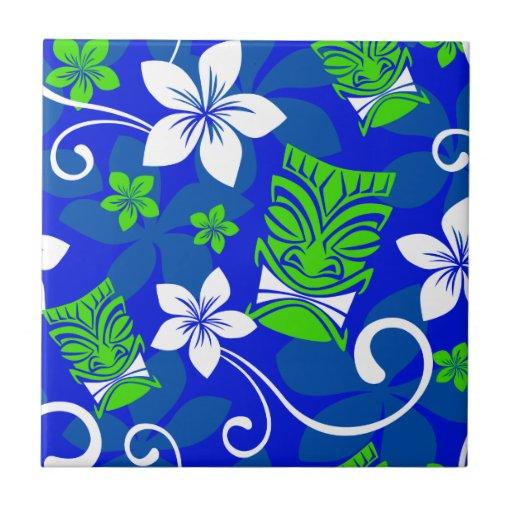 Blue Island Floral Tiki Masks Tile