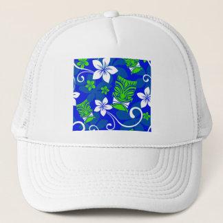Blue Island Floral Tiki Masks Trucker Hat