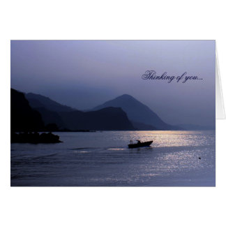 Blue Island Harbor Sunset Solo Greeting Cards