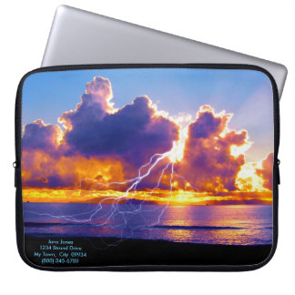 Blue Island Lightning Laptop Computer Sleeves