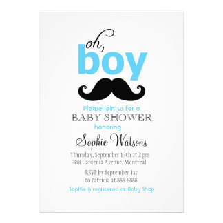 Blue It s a Boy Mustache Baby Shower Invitations