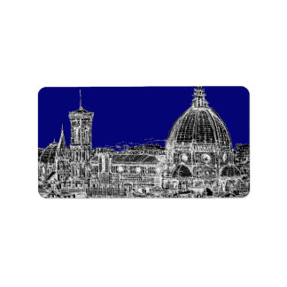 Blue Italian cathedral Address Label