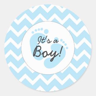 blue it's a boy baby shower envelope seals classic round sticker