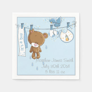 Blue It's a Boy Baby Shower Party Napkins