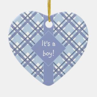 "Blue ""It's a Boy"" babyshower ornament"