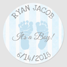Blue Its a Boy Footprints Baby Shower Stickers