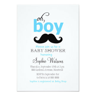 "Blue It's a Boy Mustache Baby Shower Invitations 5"" X 7"" Invitation Card"