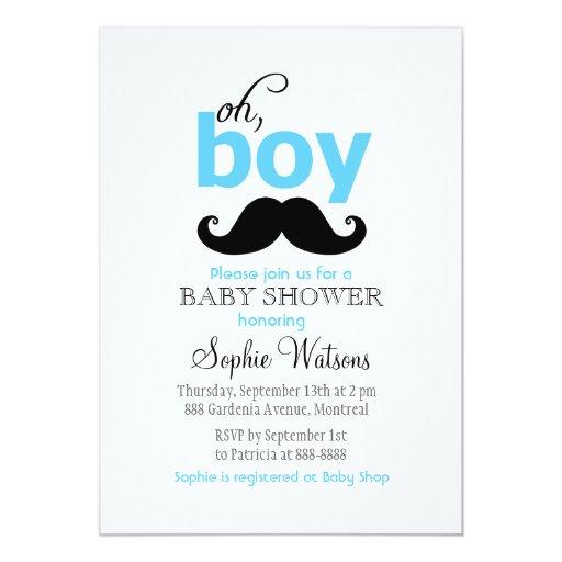 blue it 39 s a boy mustache baby shower invitations zazzle