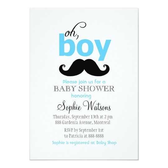 Blue It S A Boy Mustache Baby Shower Invitations Zazzle Com