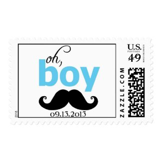 Blue It's a Boy Mustache Baby Shower Postage