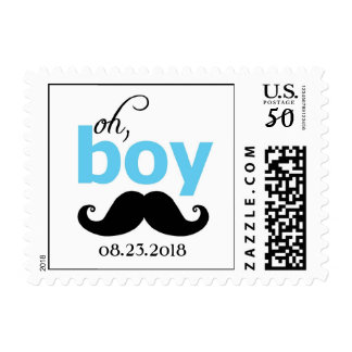 Blue It's a Boy Mustache Baby Shower Stamp