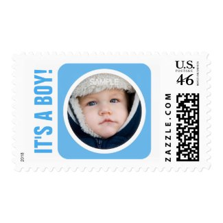Blue its a boy new baby photo postage stamps