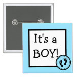 Blue It's A Boy With Baby Footprints 2 Inch Square Button