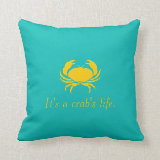 Blue It's a Crab's Life Personalize Pillow