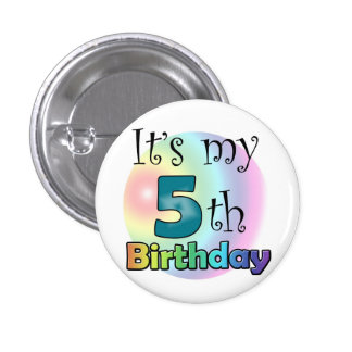 Blue It's my 5th Birthday Pinback Buttons