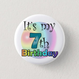 Blue It's my 7th Birthday Pinback Button