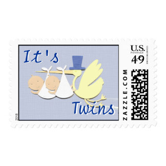 "Blue ""It's Twins"" Stork Postage Stamp"
