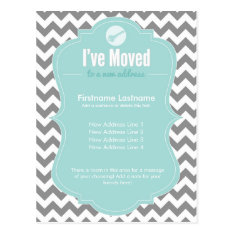 Blue I've Moved Change of Address Postcards at Zazzle