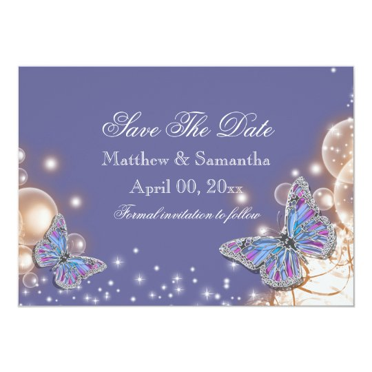 Blue ivory butterfly wedding card