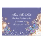 Blue ivory butterfly wedding custom announcements
