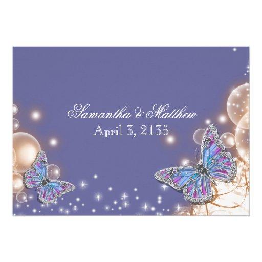 Blue ivory butterfly wedding custom invite