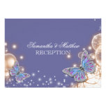 Blue ivory butterfly wedding reception card