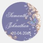 Blue ivory butterfly wedding round sticker