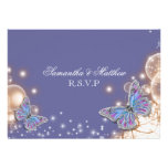Blue ivory butterfly wedding rsvp personalized invites