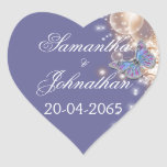 Blue ivory butterfly wedding stickers