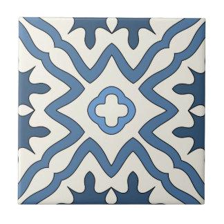 Blue Ivory Greek Inspired Geometric Tile