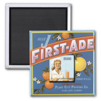 Blue J First-Ade Brand Oranges 2 Inch Square Magnet